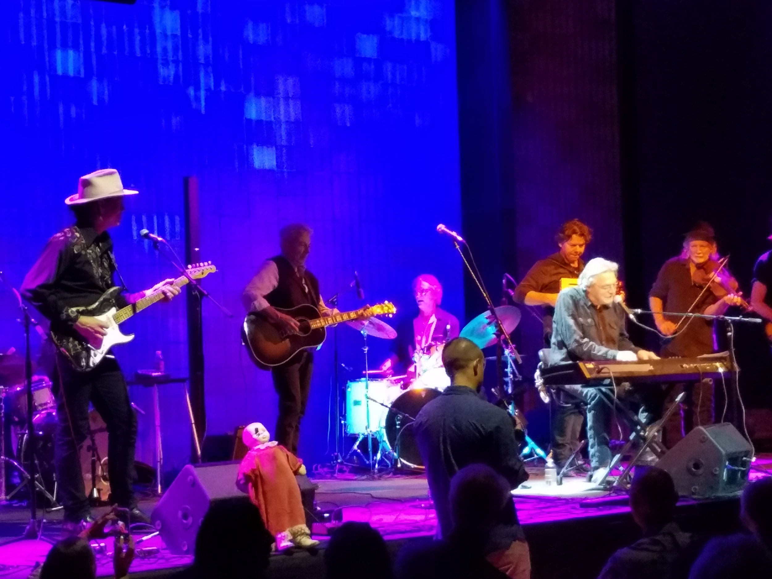 Marfa, Texas. Terry Allen at keyboard, his son Bukka behind him on the accordion. Joe Ely on guitar, second left.