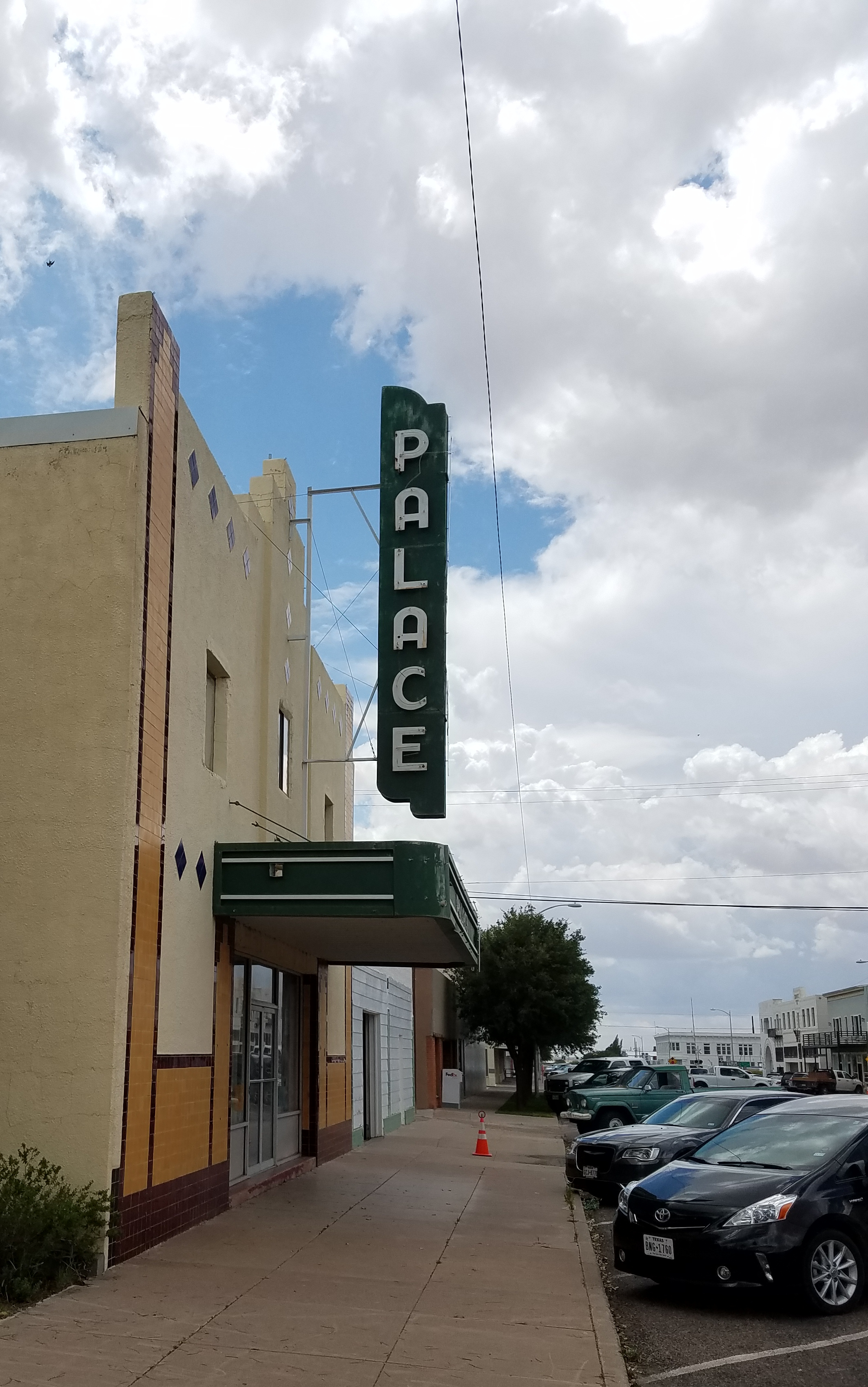 The Palace Theater, standing empty on Marfa's main drag.