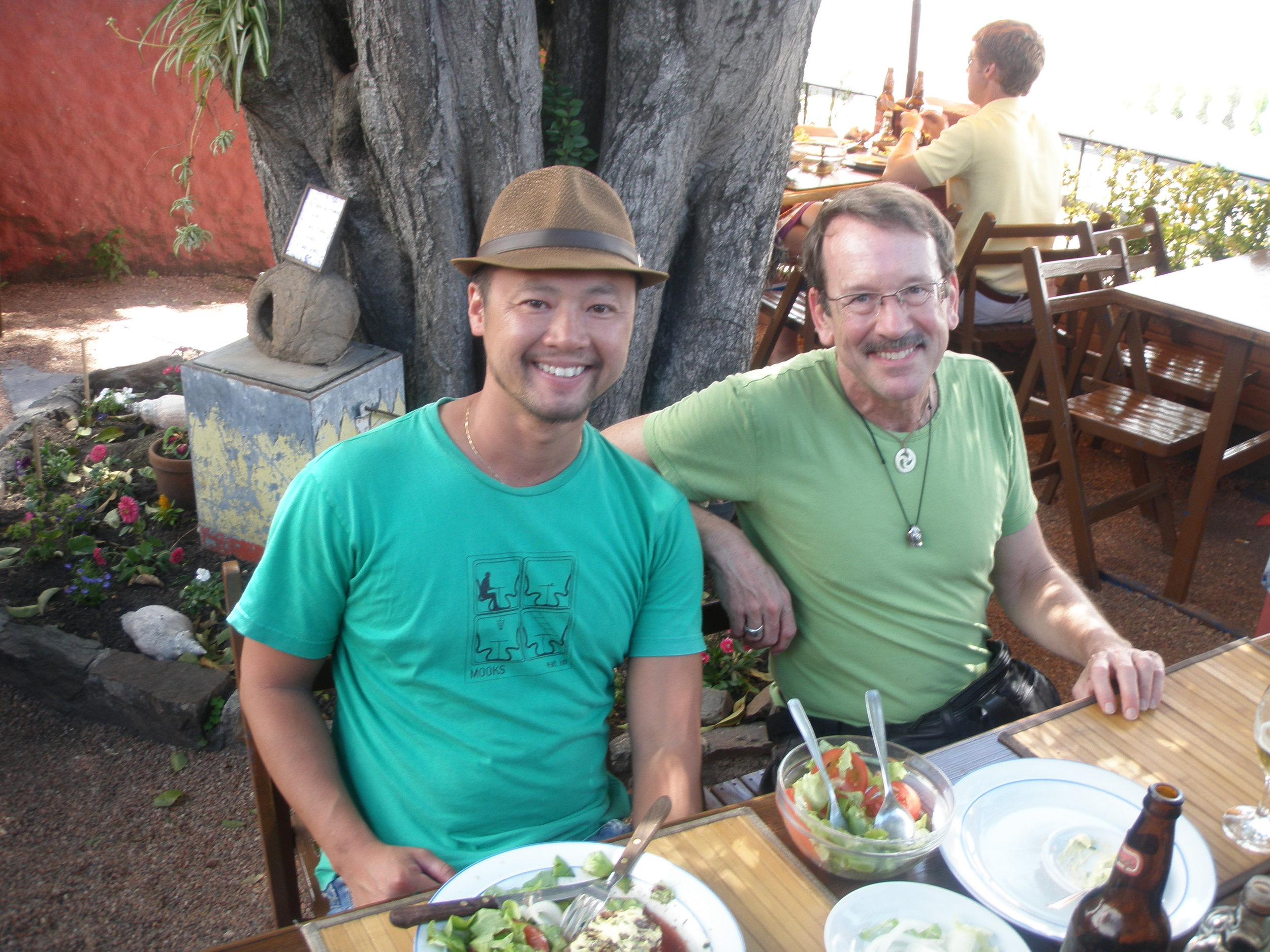 Colonia, Uruguay. Mark Lee from Sydney, with Stephen Silha.