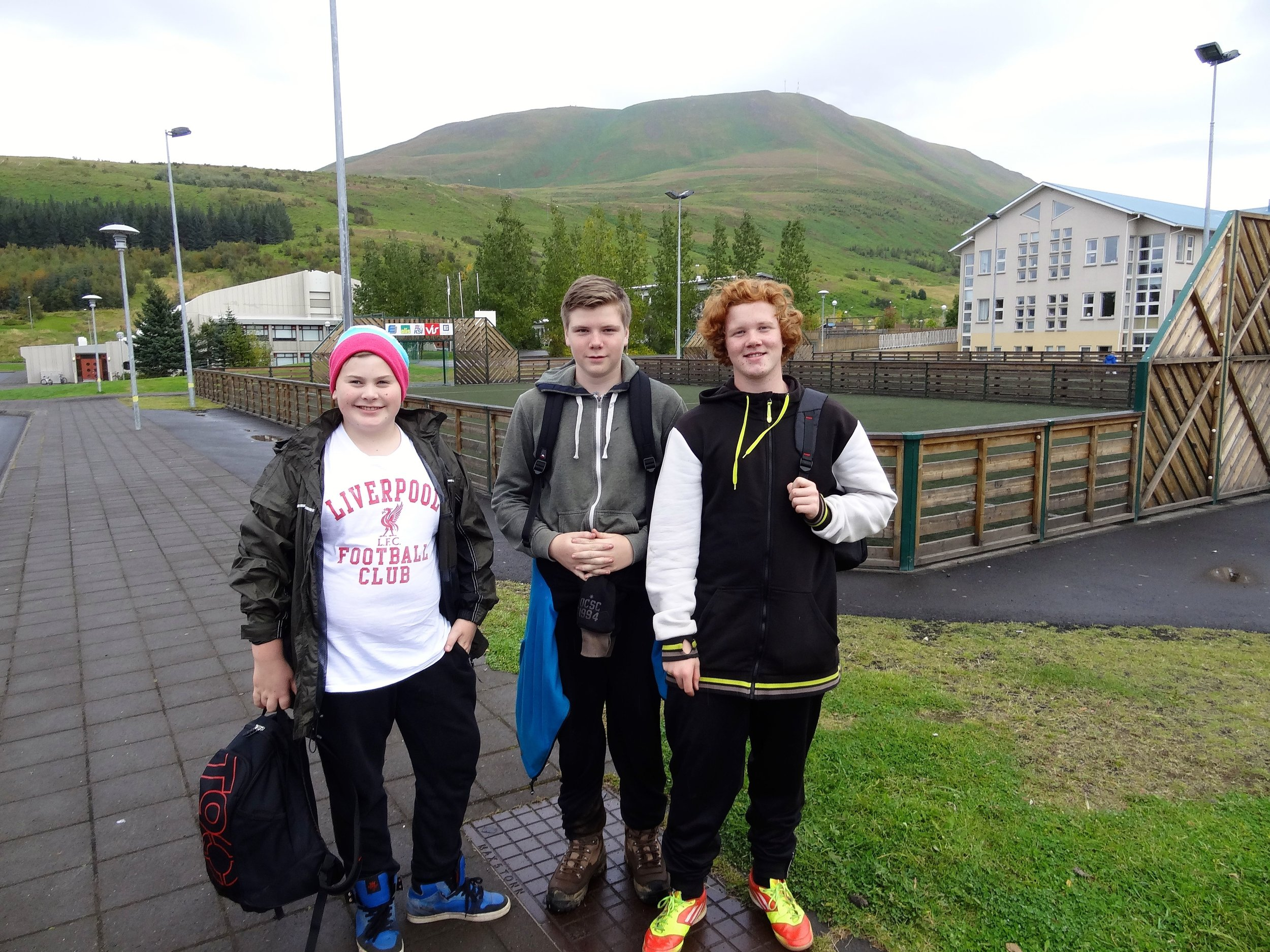 Husavik, Iceland. These guy spent a day playing hookie from school. They were hitchhiking and we gave them a ride into Husavik.