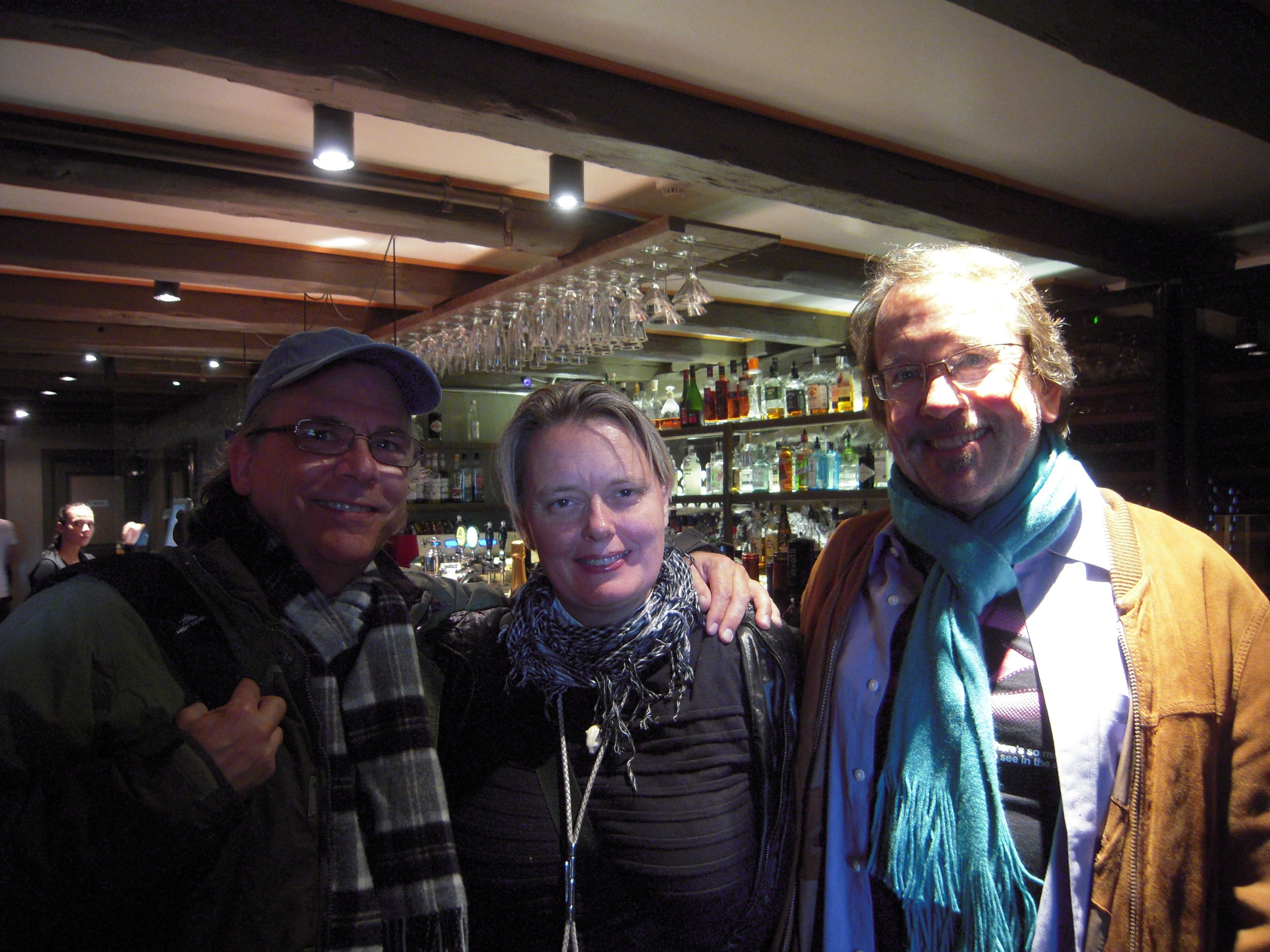 Dinner in Reykjavik, Iceland with Stephen Silha and Hrafnhildur Gunnarsdóttir, a film editor and political activist. She lived in San Francisco for several years, now home in Iceland.