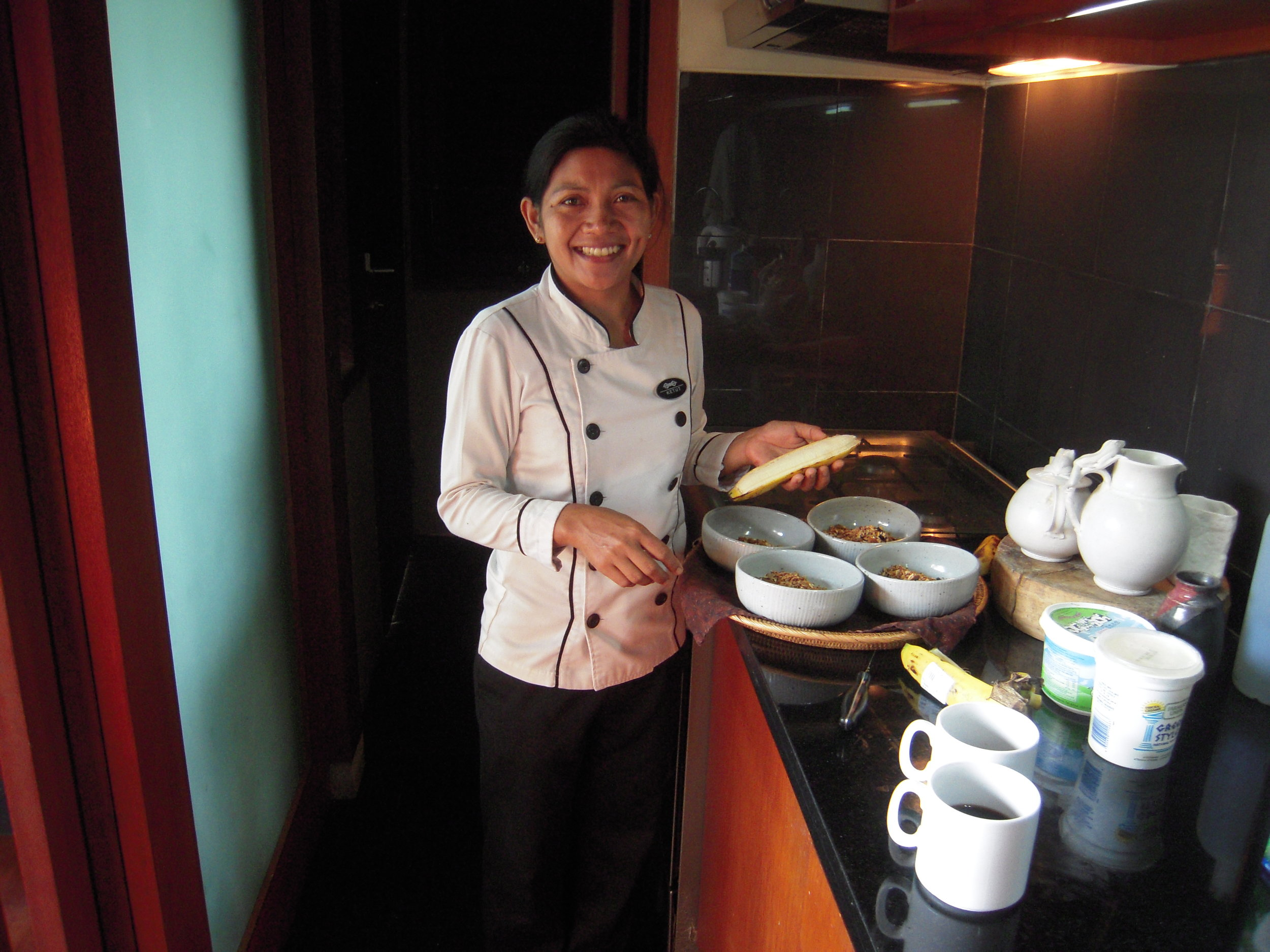 BALI 2014 -- Ketut, the delightful and talented cook at Joel Singer and Nirgrantha's house in Sebali.JPG