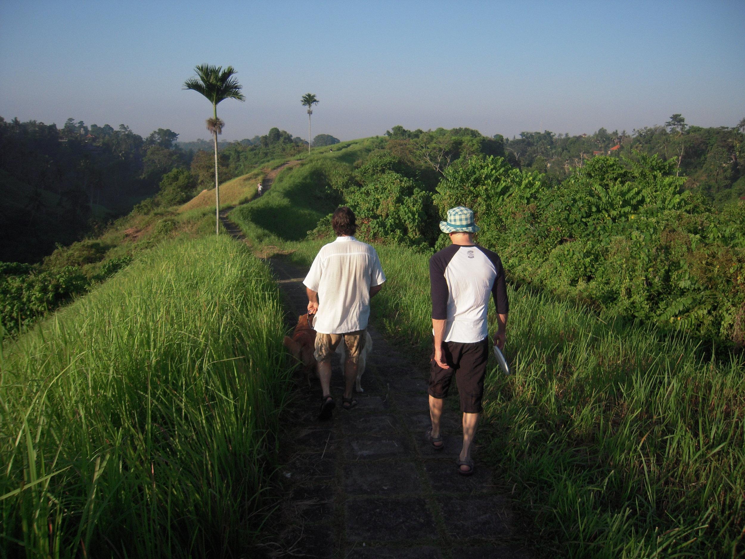 BALI 2014. Joel Singer and Steve walking Joel's dogs Abelard and Heloise.JPG