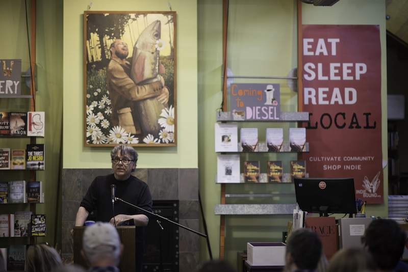 """Wild Seed"" is launched. Here I'm speaking at the publication party at Diesel Bookstore in Oakland."