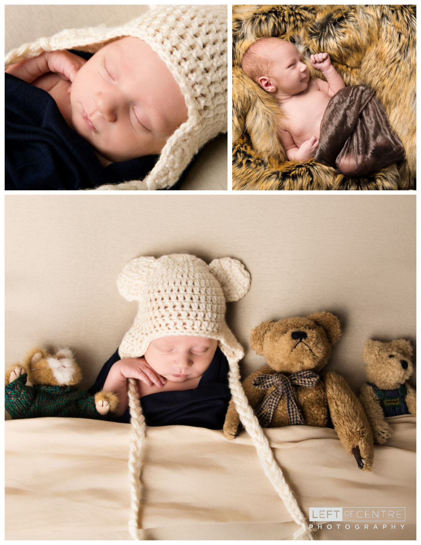 sleeping newborn collage with teddy bears
