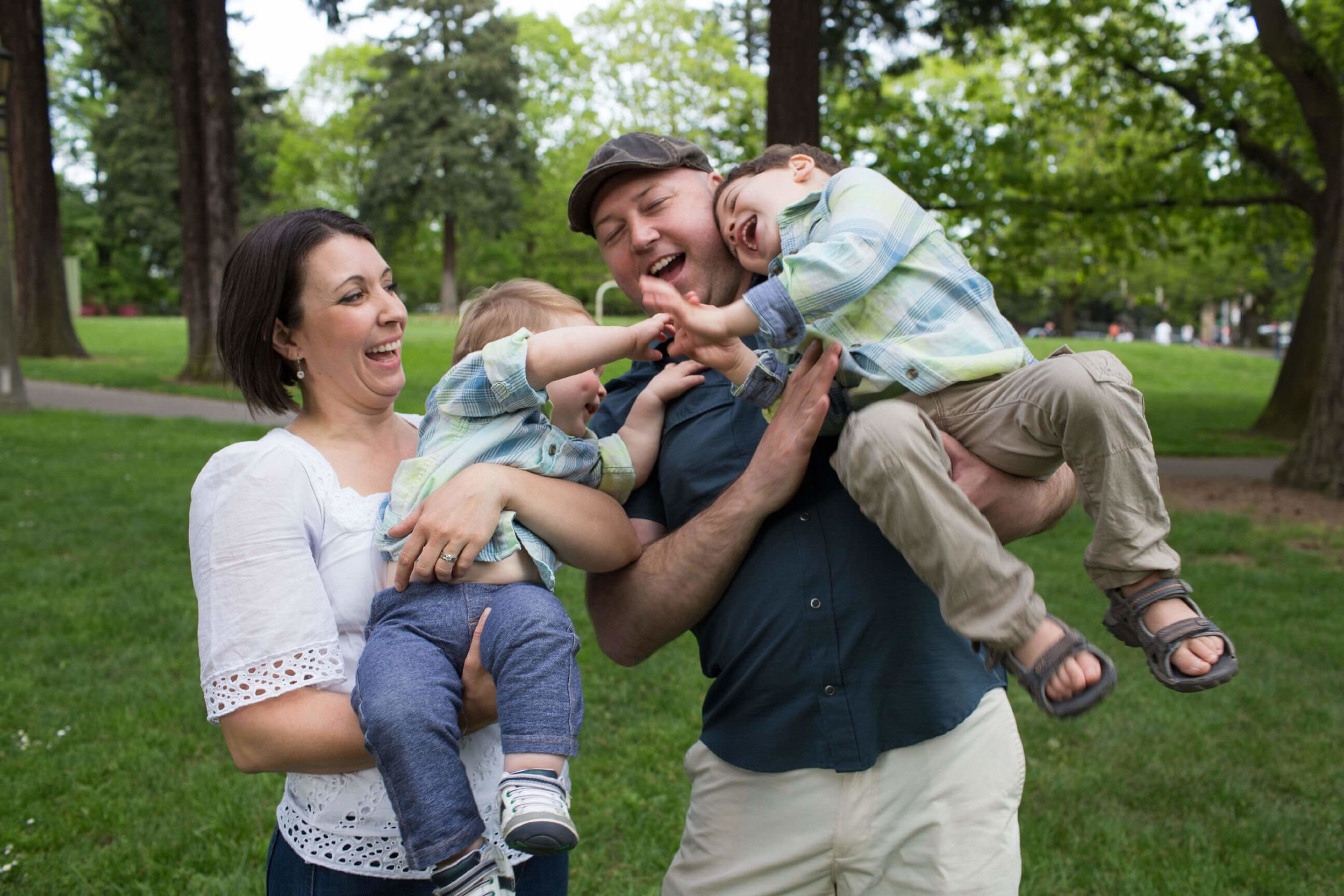 Jessica and Chris Wade with their two boys, who are the inspiration for The Wiggle Room. The Wiggle Room is a 2,000 SF indoor play space located in the heart Of NE Portland's Hollywood District.