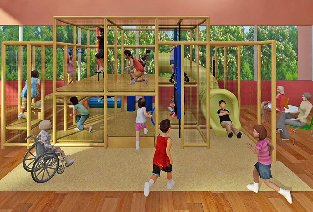 Rendering of The Wiggle Room's custom-designed indoor play structure.