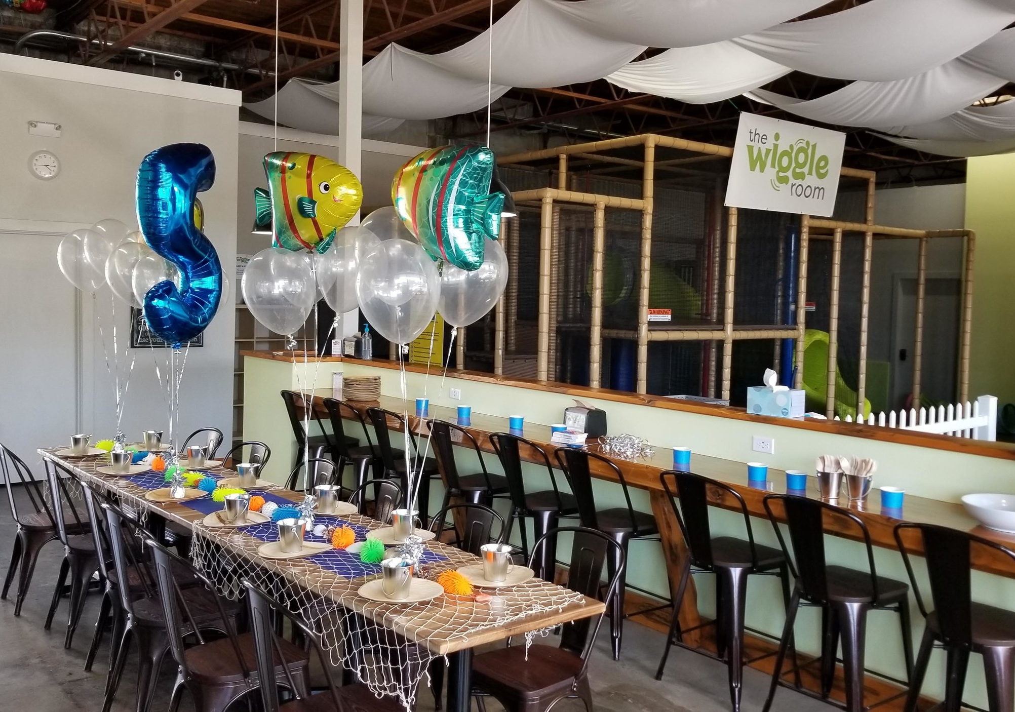 Rent our space for birthdays or other celebratory activities. The rate starts at $295 for a 2 hour party after our normal business hours. And, outside food is always welcome.* Email  chris@thewiggleroom.com  to request details or check our  Parties page .  * Please remember party items such as birthday cake, presents, decorations etc are only allowed inside The Wiggle Room with a birthday party reservation.