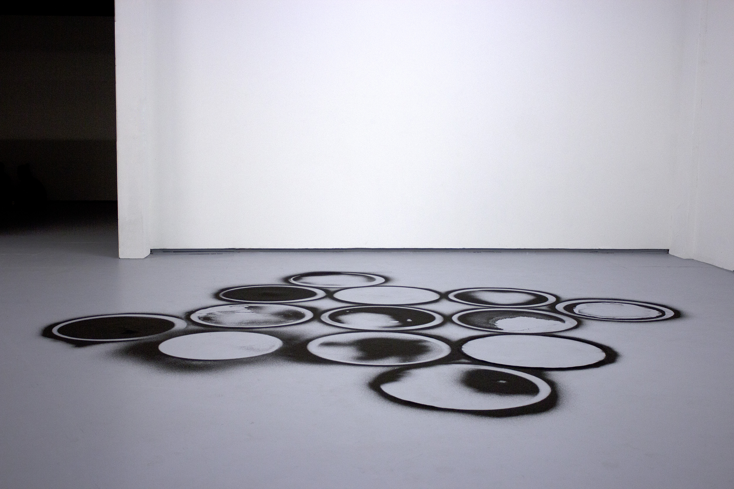 13:1 (circle packing)  , 2015 black sand 1 x 144 x 144 in. collaboration with  Surabhi Ghosh    Ditch Projects , Springfield OR
