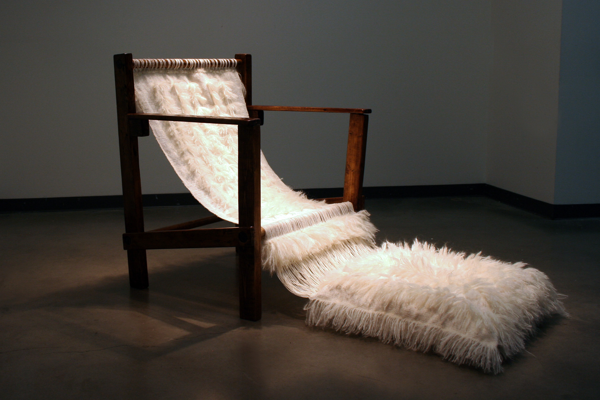 Heidy Nyboer-Franco Advanced Fibres , 2018  Concordia University   Independent Research /  This course provides a framework for students to develop their studio practice outside of the context of assignment-driven work.  Heidy created a series of woven chairs, each chair based on a different member of her immediate family.