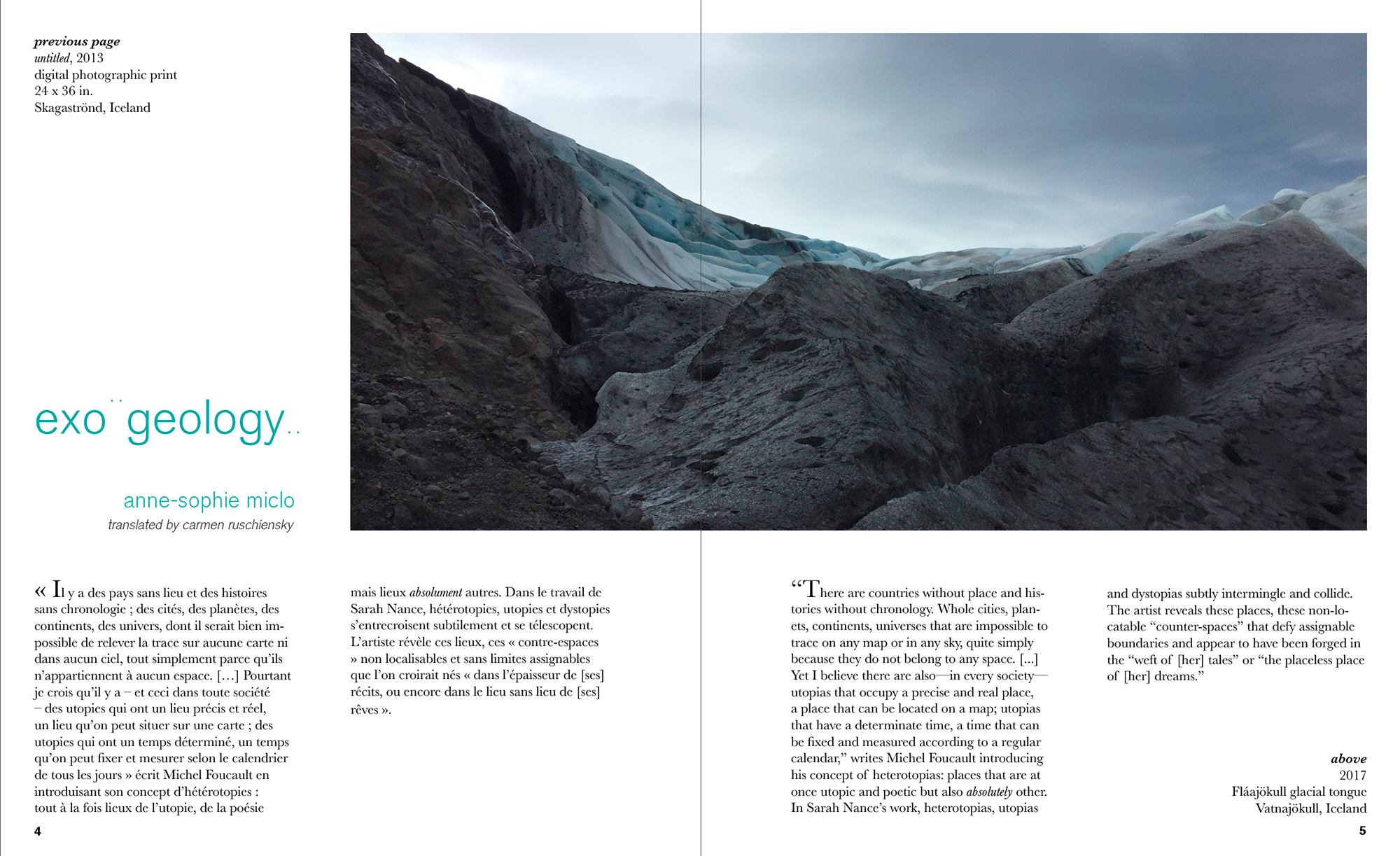 exo¨geology..  , 2017 artist book essay by Anne-Sophie Miclo  published by  Antenna , New Orleans LA