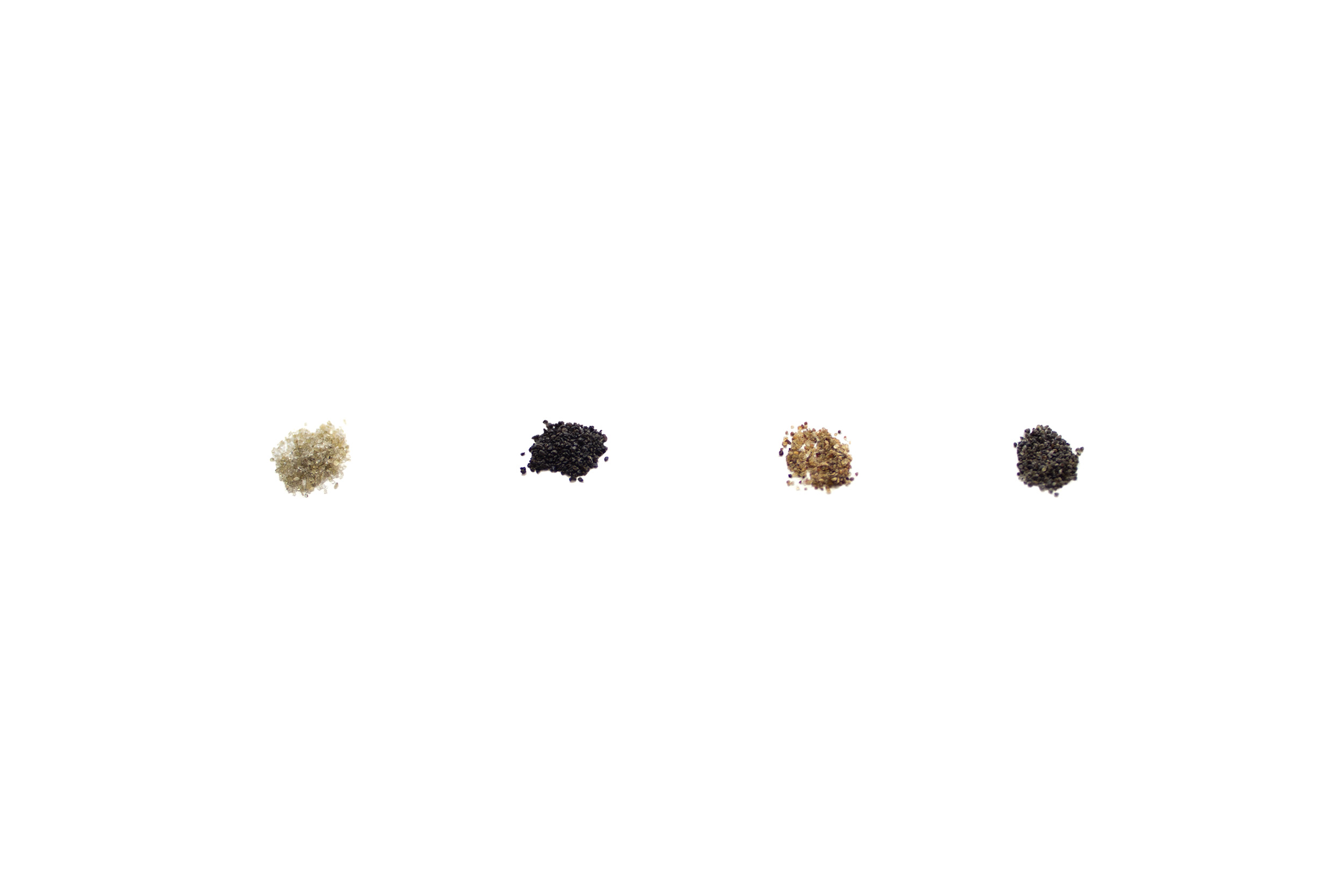 reverse entropy  , 2013-ongoing black sand, sorted dimensions growing