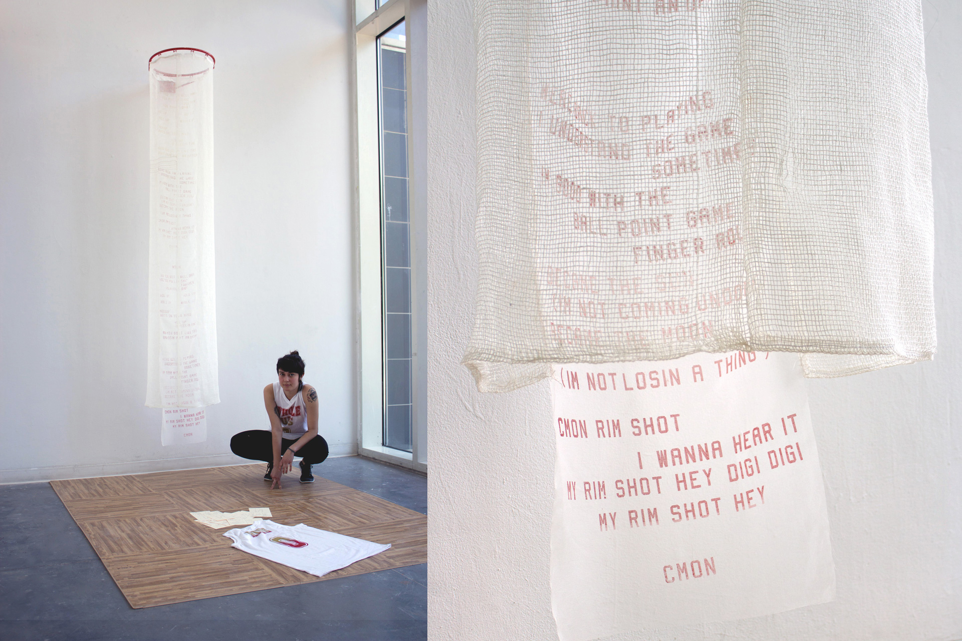 """Michaela Amato Fabric Design II , 2015  Virginia Commonwealth University   Appropriation /  Use screenprinting techniques to create a new visual language based on existing personal, cultural, political or decorative, etc. imagery.  Michaela performed the one-on-one basketball game """"horse,"""" substituting the word """"whole."""" Her printed text used the structural and stylistic form of hip-hop to address women's varied roles in relationships."""