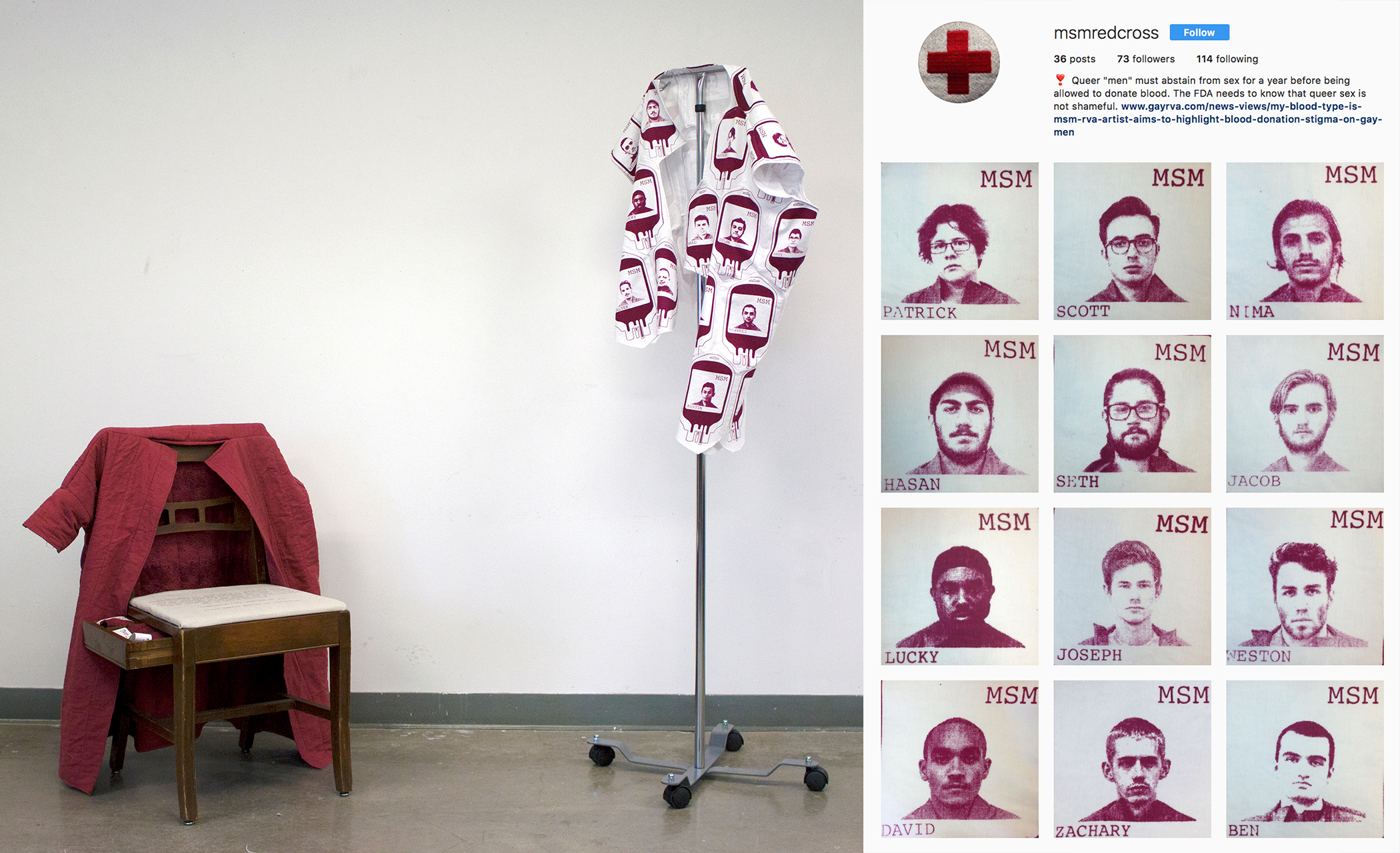 """Connor Shumaker Fabric Design II , 2016  Virginia Commonwealth University   Margin to Center /  Use pattern to highlight something that you see as marginal, overlooked, or underrepresented.  Connor addressed the issue of the Red Cross severely limiting the ability of """"men who have sex with men"""" (MSM) to donate blood. They photographed voluntarily identified MSM individuals; these portraits were posted to a dedicated Instagram feed and printed on blood bags that were pieced into a garment. As more participants are photographed, they are pieced into the coat."""
