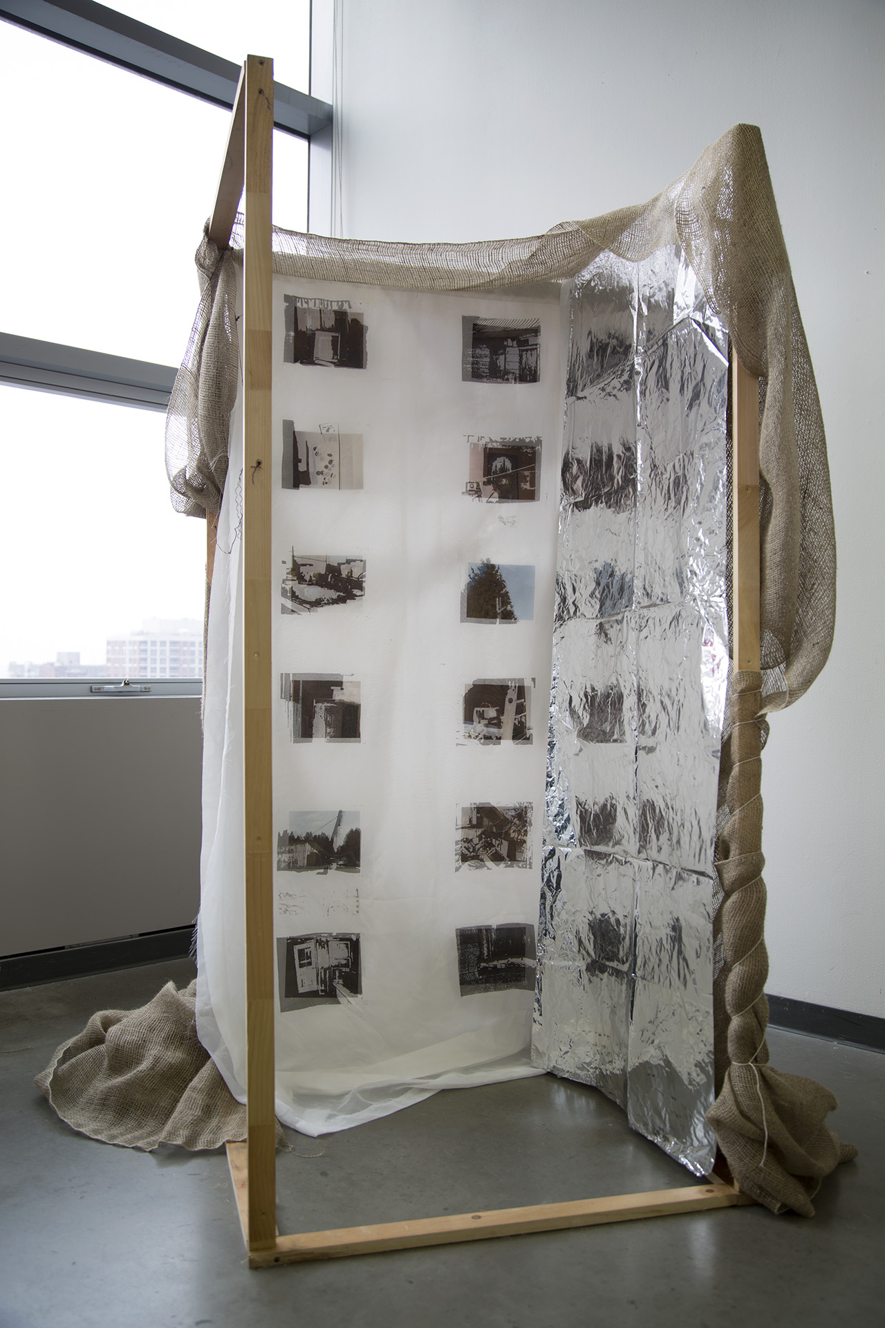 Laurémie Houle Textile Printing and Dyeing I , 2018  Concordia University   Margin to Center /  Use patterning and/or repeat printing to highlight something that you see as marginal, overlooked, or underrepresented.  Laurémie reproduced images of an abandoned home from the '70s on her family's property, and created this sculpture out of materials she found there.
