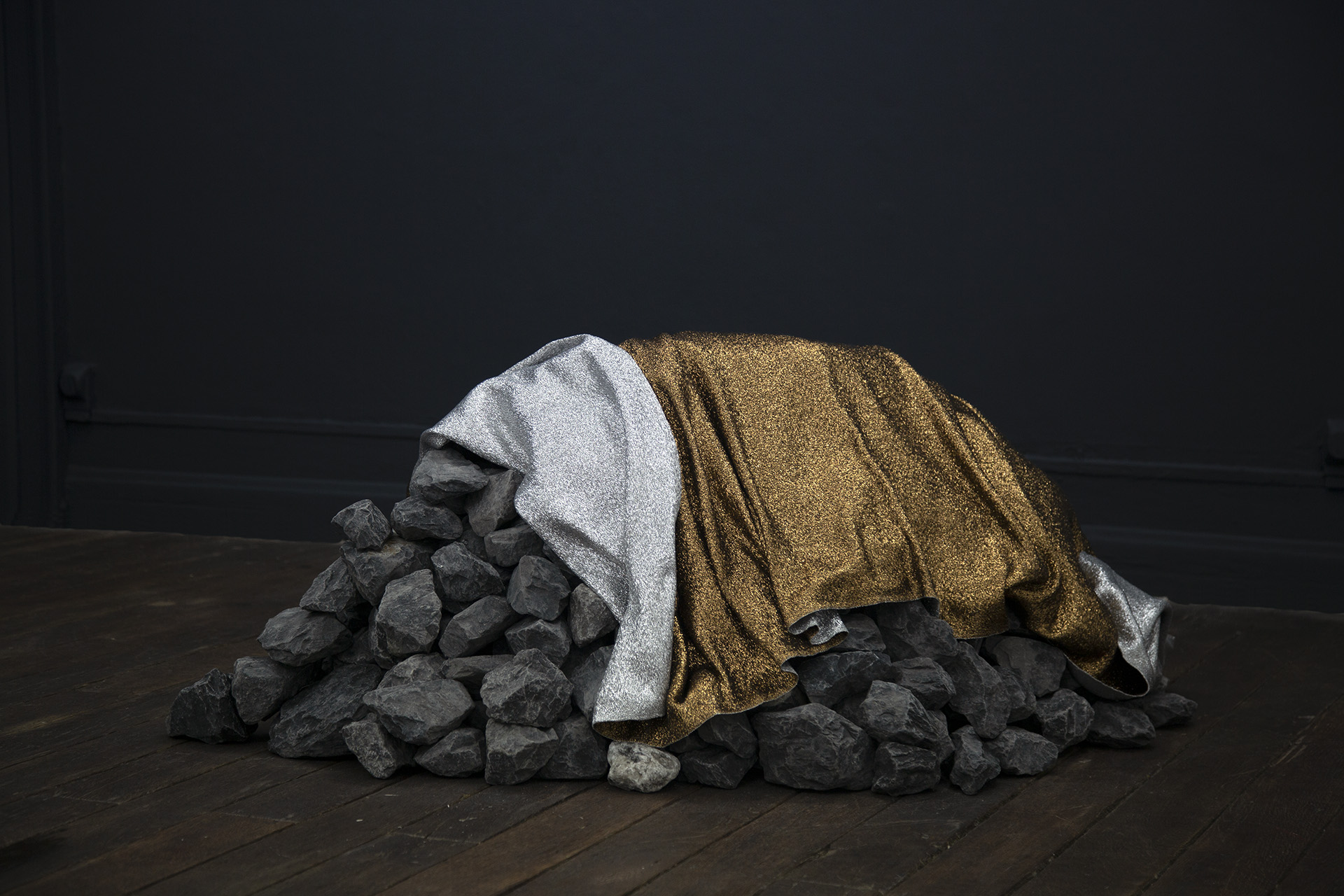 (emergency) (space) blanket for the moon   hand-woven bronze and silver mylar thread (satin weave), black limestone 32.5 x 21 x 60.5 in.   Galerie Octave Cowbell , Metz, France