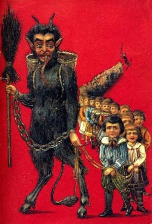 Krampus bringing some unhappy children along with him.
