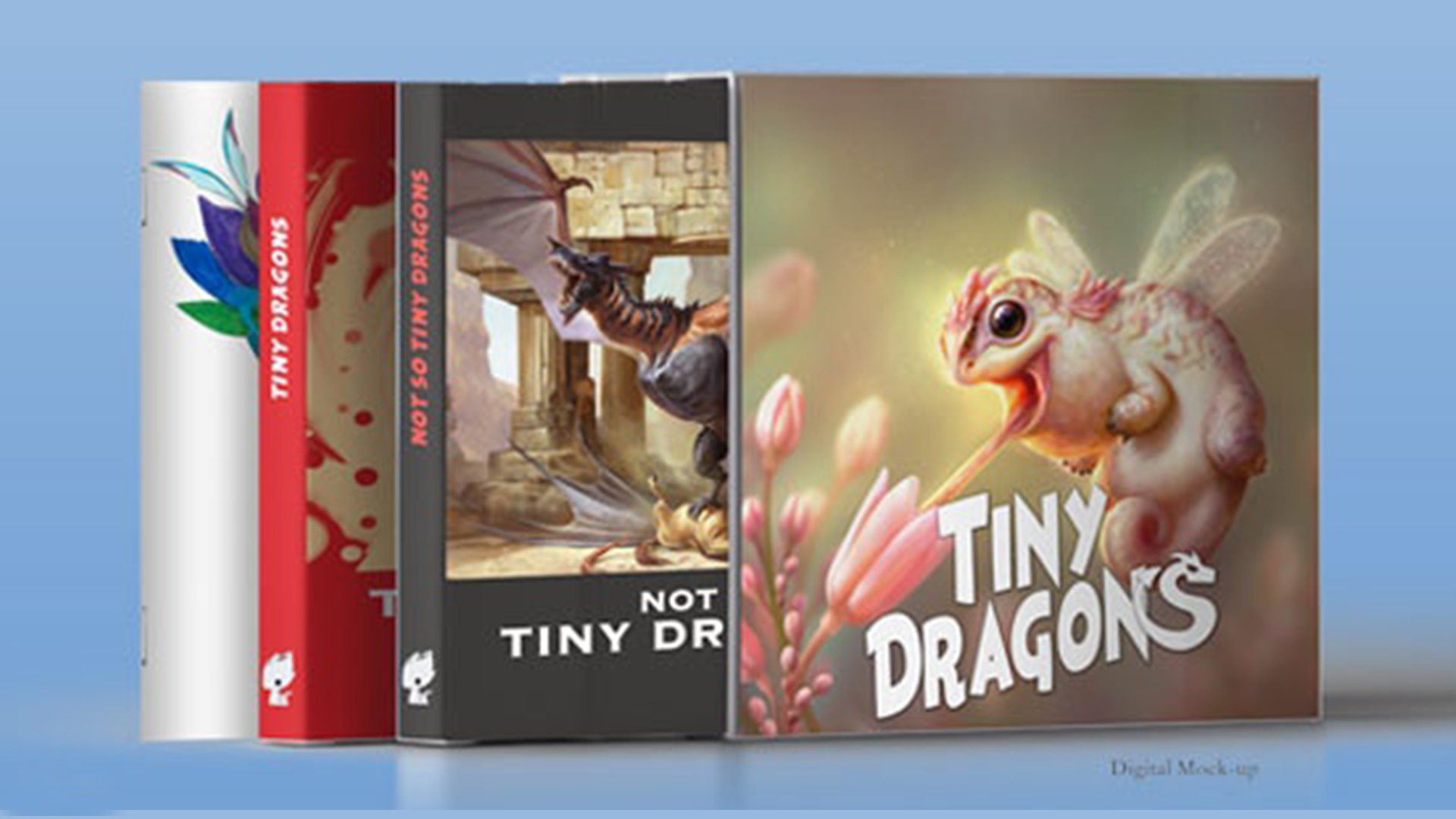 This is a digital mock-up of what the books and slip case will look like.