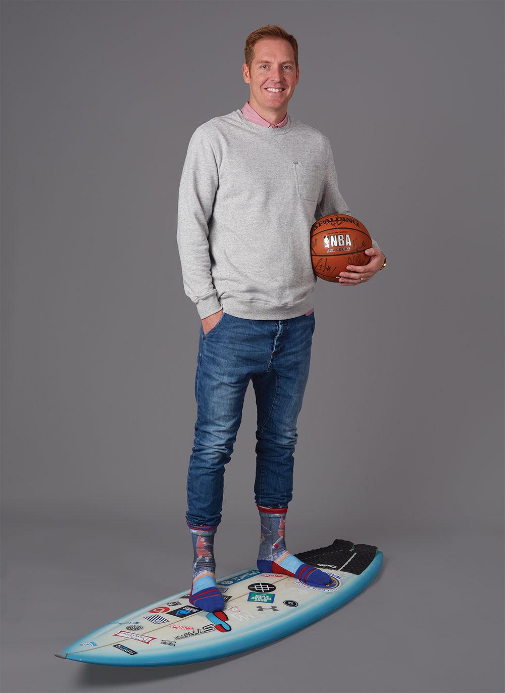 """SOCKSTAR: Travis Hansen celebrated """"white guys who can dunk"""" with his Brent Barry knee-highs. Barry won the 1996 NBA Slam Dunk Championships, which is the same year this 6-foot-6 Orem dunker was leading the Mountain View Bruins to the region championship. (Photo by Dave Blackhurst/UVBizQ)"""