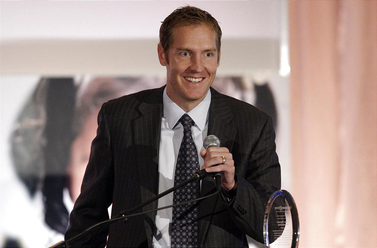 Former BYU Cougar basketball player Travis Hansen receives an award during Operation Smile's 5th annual Breakfast of Smiles in Salt Lake City Tuesday, Sept. 20, 2011. Hansen is retiring from professional basketball.
