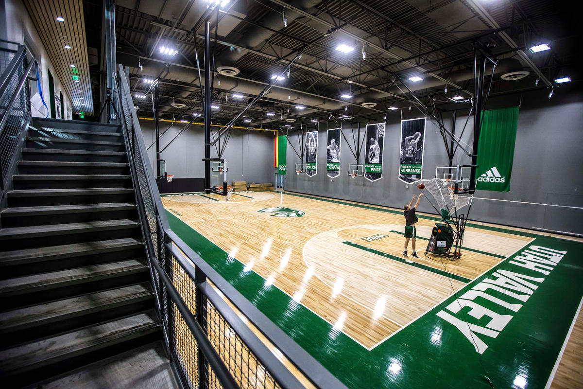 A player shoots at the Utah Valley University Wolverines Nuvi Basketball Center on the UVU Campus in Orem, Utah.