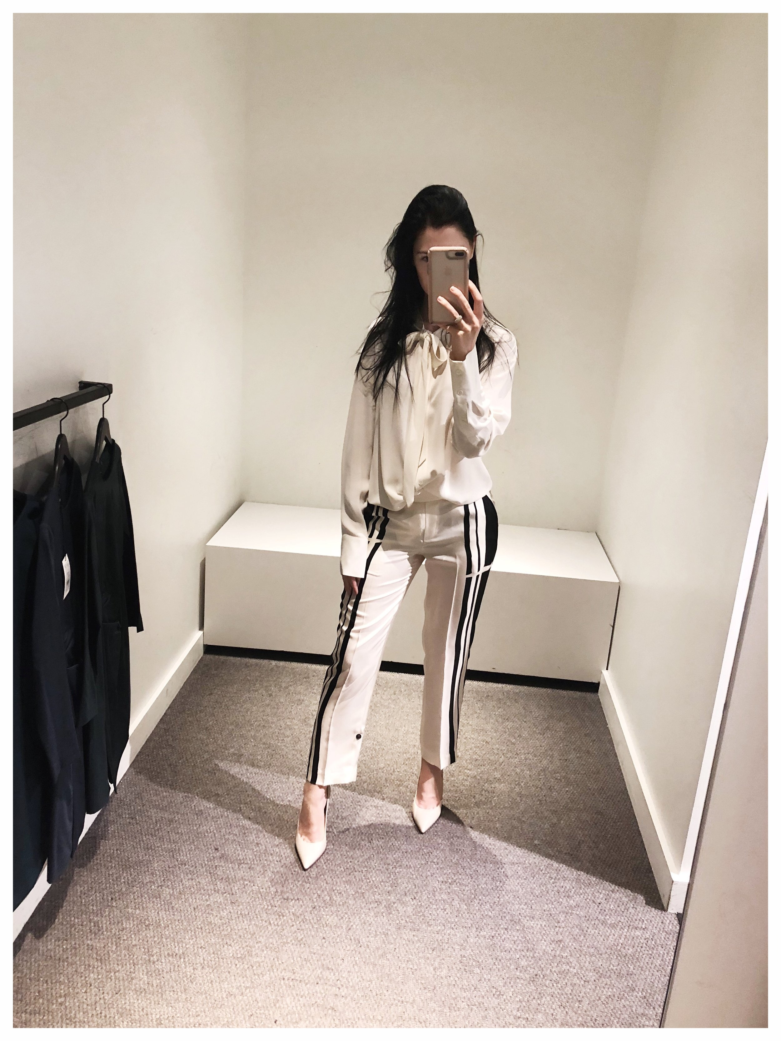 silk black and white theory pant white shirt pussy bow corporate work wear .jpg