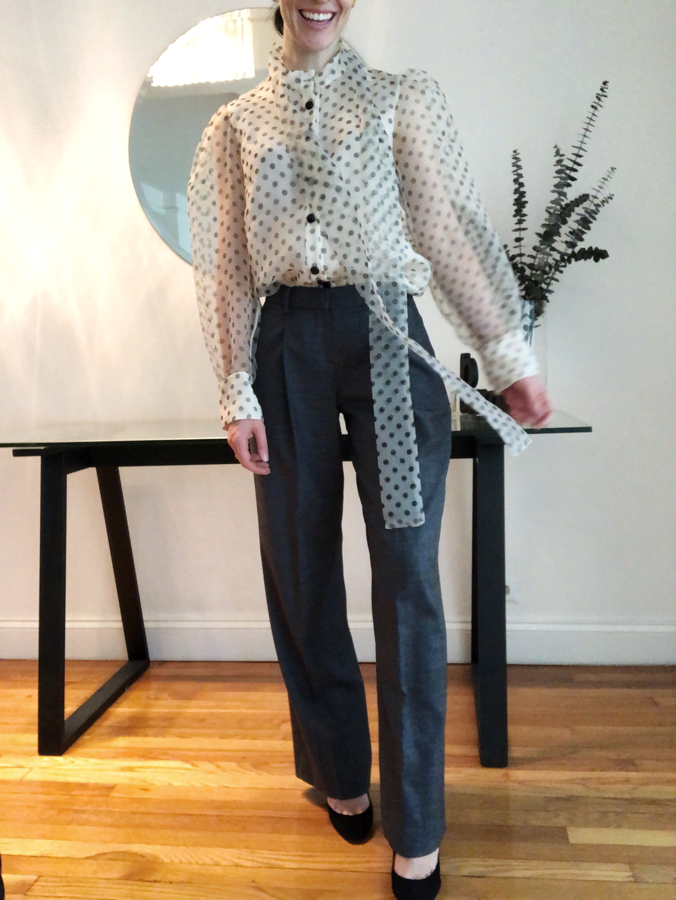 Poet Blouse, puff sleeve, spot shirt, polka dots, corporate work wear fashion office.jpeg