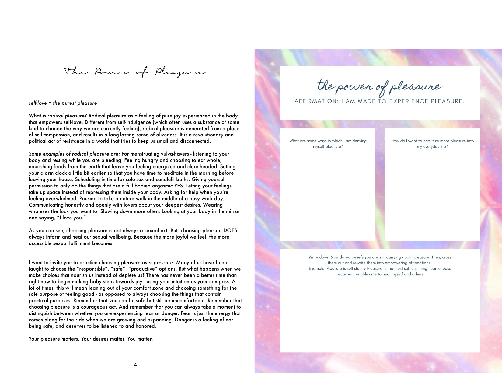 Pleasure-Based Living - A Digital Workbook for your Sensual Liberation