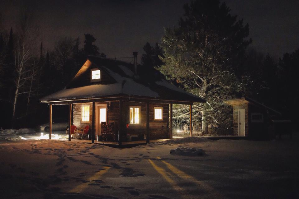 Log Cabin Winter Evening Outside.jpg