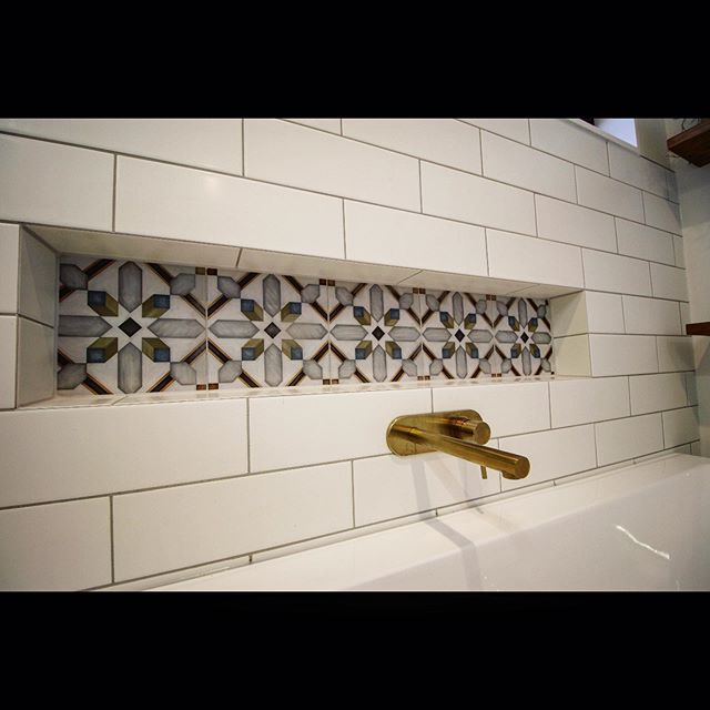 Another quality bathroom just completed by us #morrocantiles #brushedgold #bathroomrenovation #custombathrooms #subwaytile #freestandingbath #patterntiles #bathroominspo