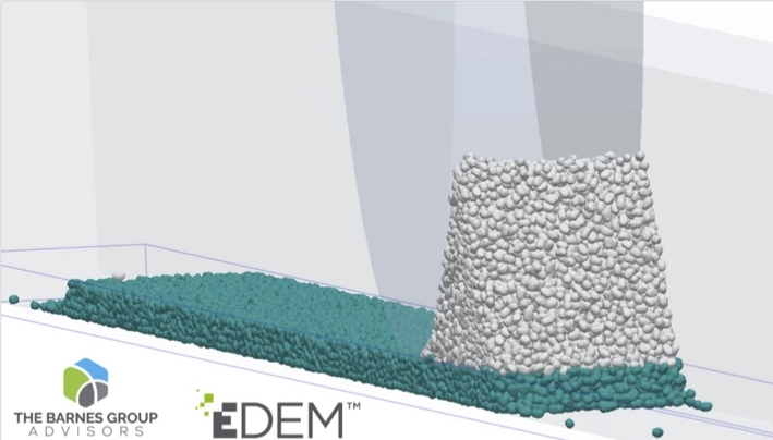 EDEM simulates granular material processes such as powder spreading in AM; The Barnes Group Advisors specialise insolving problems associated with industrial additive manufacturing.
