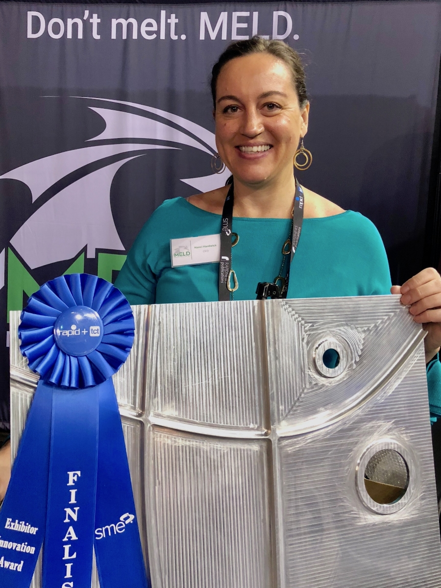 Nanci Hardwick – CEO of Meld after winning the RAPID + TCT Exhibitor Innovation Award