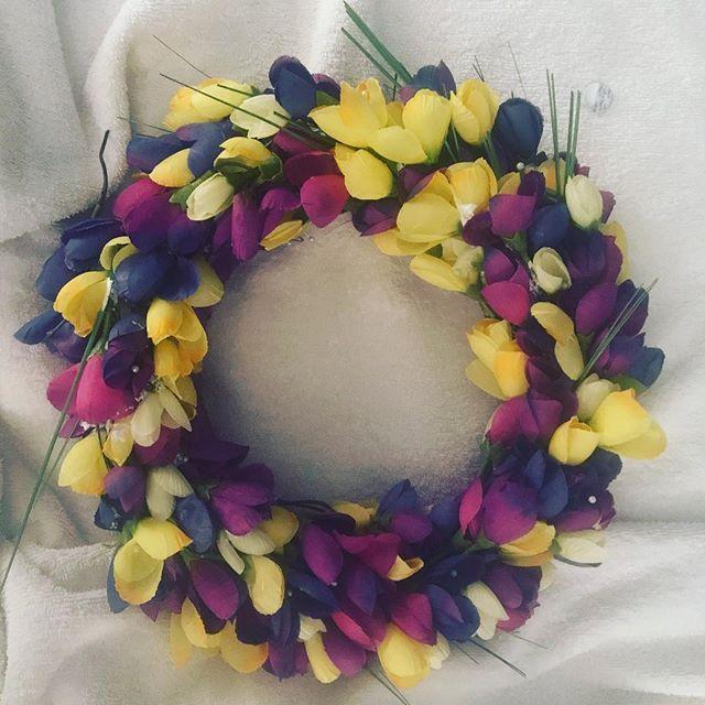 Purple and yellow tulips! Wreath