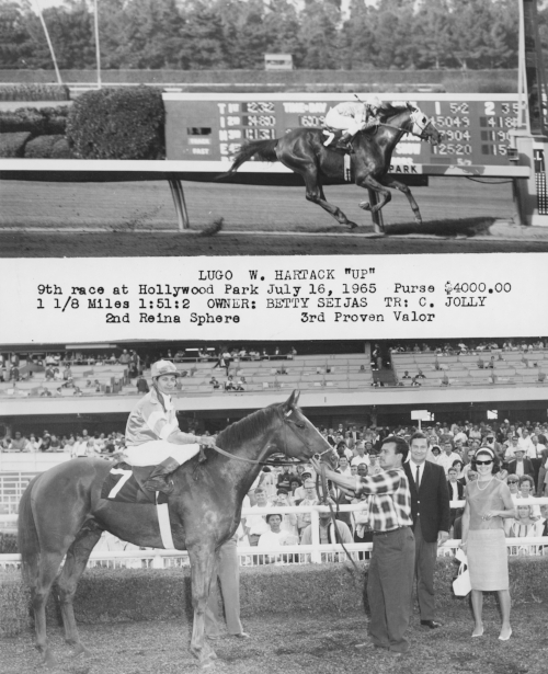 Gloria Sferra in The Winner's Circle - Hollywood Park Racetrack with family owned and bred racehorse