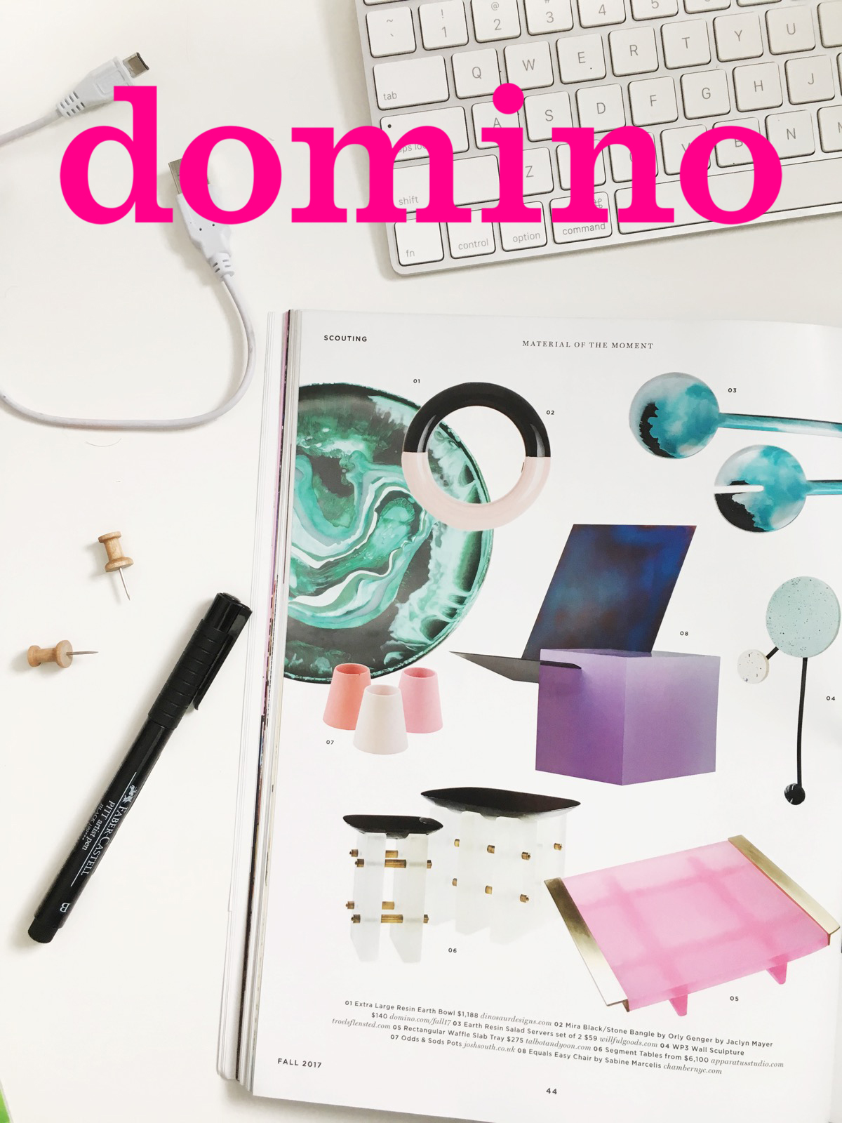 """Material of the Moment""  (handmade resin salad servers) Fall 2017  - DOMINO MAGAZINE"