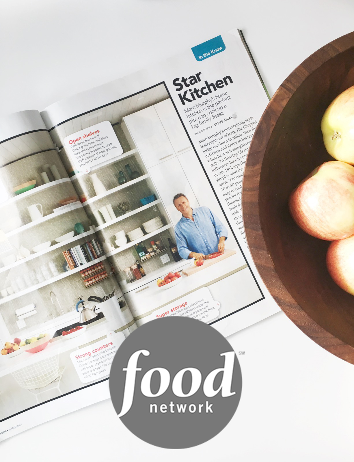 """Color Dipped bowls add pops of color to the open shelves."" In celebrity chef Marc Murphy's home kitchen. -FOOD NETWORK MAGAZINE March 2017"