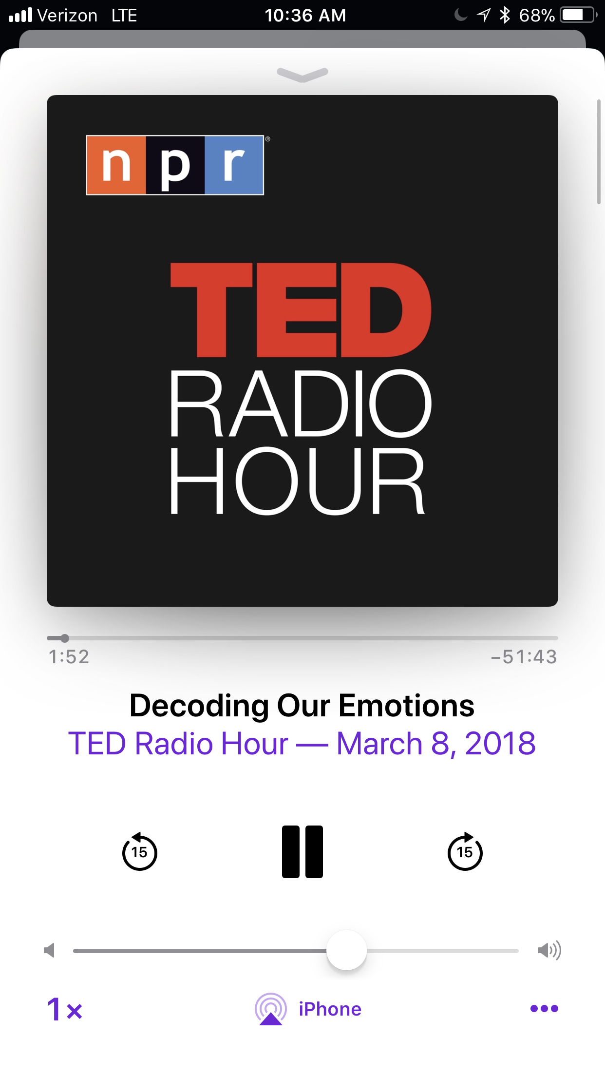 Where do our emotions come from? - This podcast was fascinating from an informational standpoint, teaching words in different languages that refer to emotions that are culturally-specific. It was fascinating to learn about the root of our emotions in our brains.