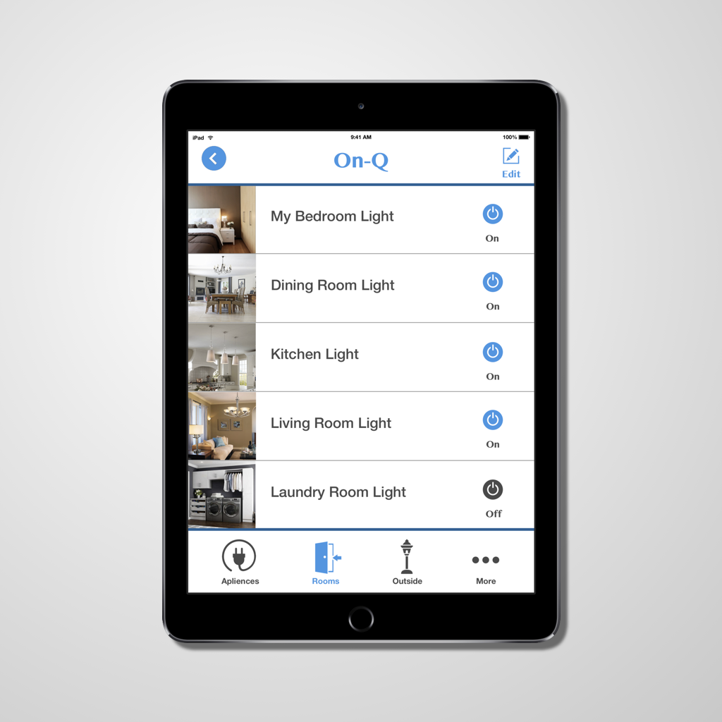 Hand-held light switch app- UI concept piece   Control the lighting inside and outside your house anywhere with this app. With this app you can also create automatic on/off settings in the timer mode.