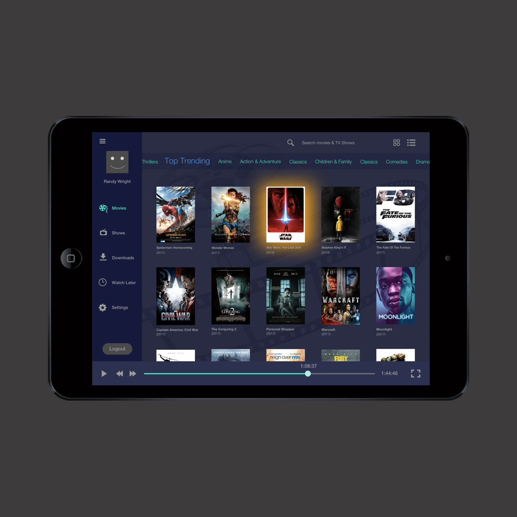 Portable Movie App- UI concept piece   A possible layout for a movie app. Scrolling bar at the top saves space and allows people to easily find what they are looking for.