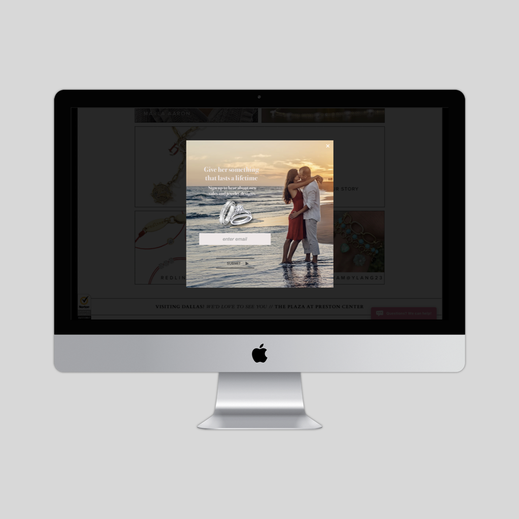 Overly for a Jewelry website- UI concept piece   An overlay for an imaginary jewelry website. An example of how I used a plain picture of a couple kissing without context and transformed it into a powerful way to advertise jewelry.