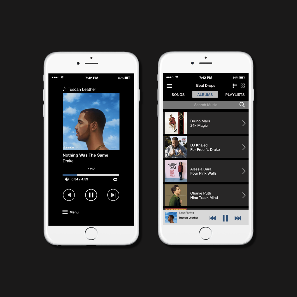 Music Player- UI Concept Piece   An idea for a layout of an MP3 Music player. Larger images of album titles, with an option of switching display from list to grid style. Much of the settings located within hamburger menu to keep interface clean.
