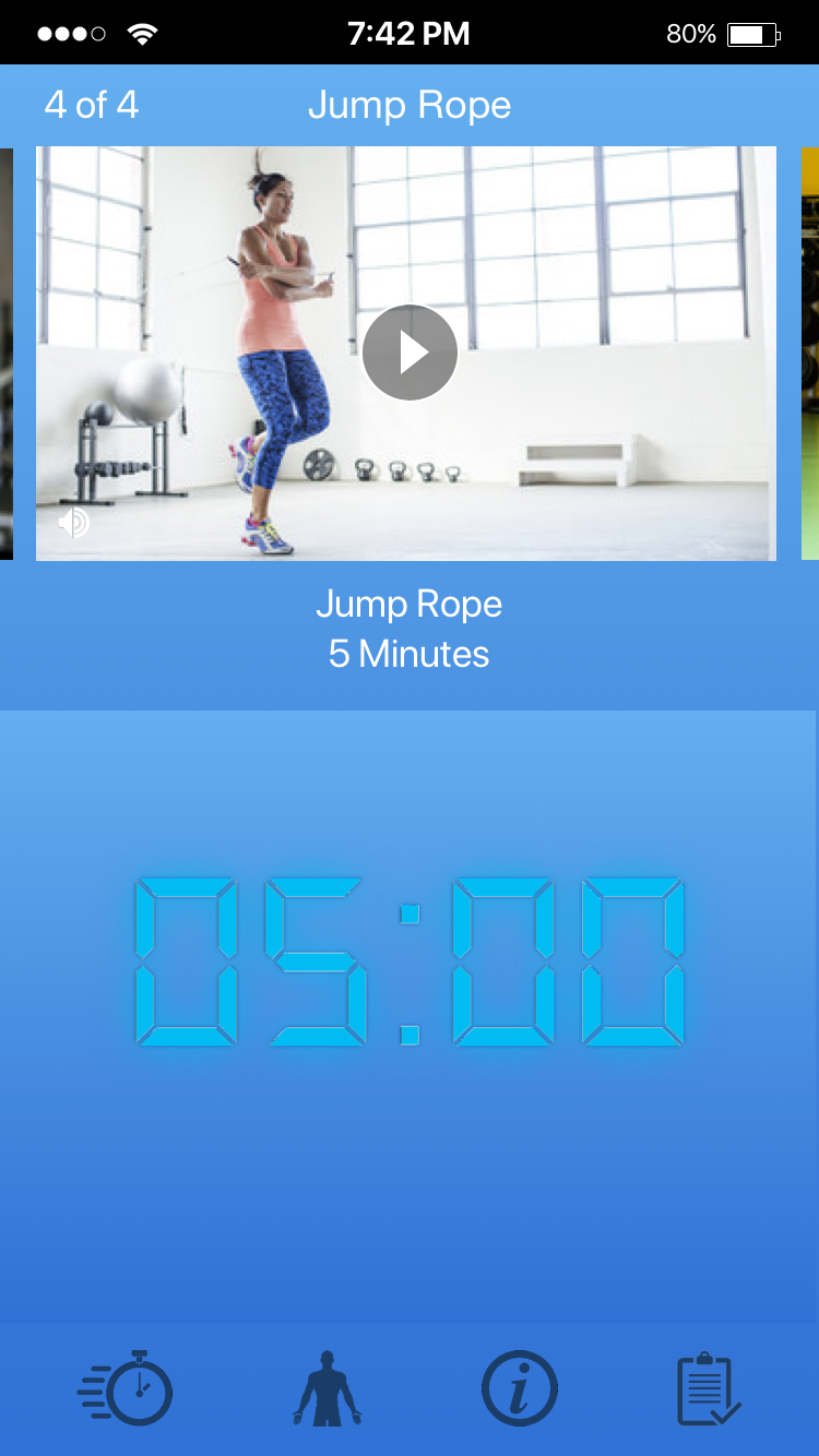 Time yourself during various exercises with the apps built in timer