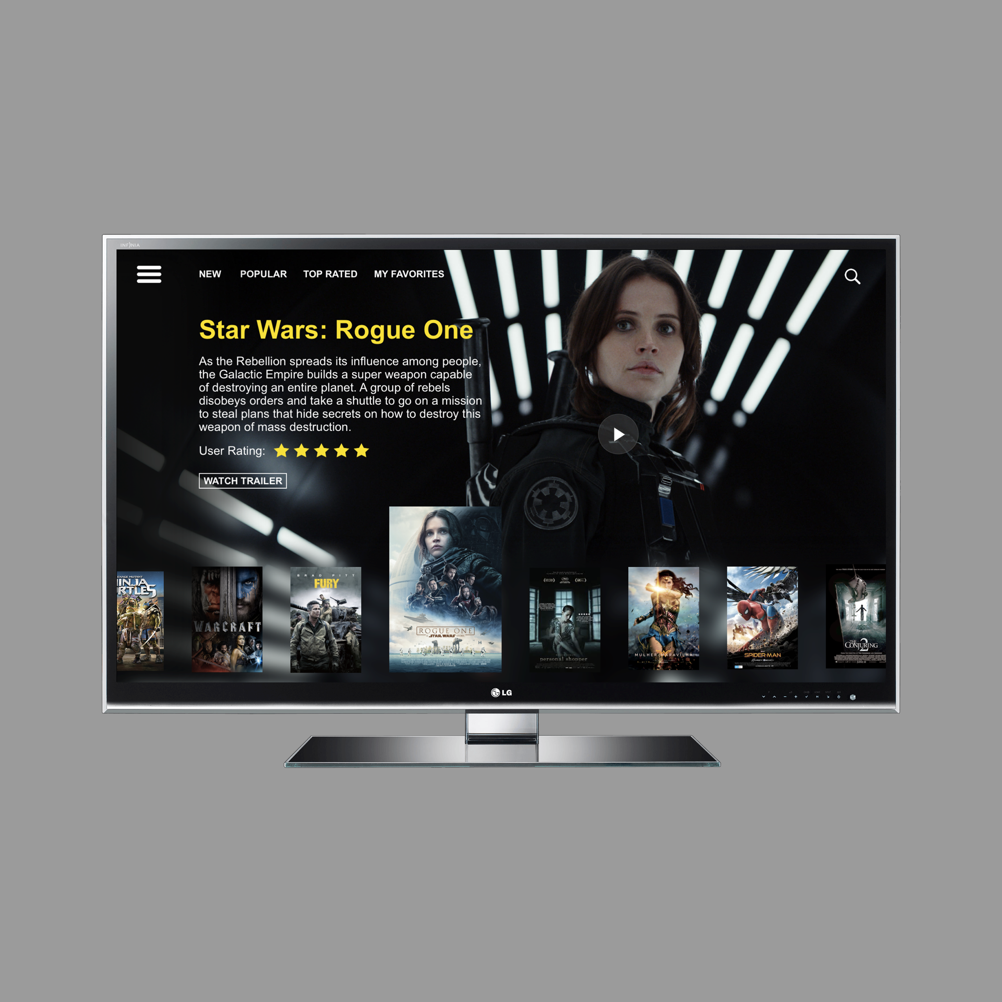 TV APP - Concept Piece   A layout for a possible TV App. Features a large hero image and a carousel for browsing movie titles. Choosing a title will give a brief synopsis of the story as well as being able to preview a trailor. Users are able to rate movies helping others in choosing what to watch.