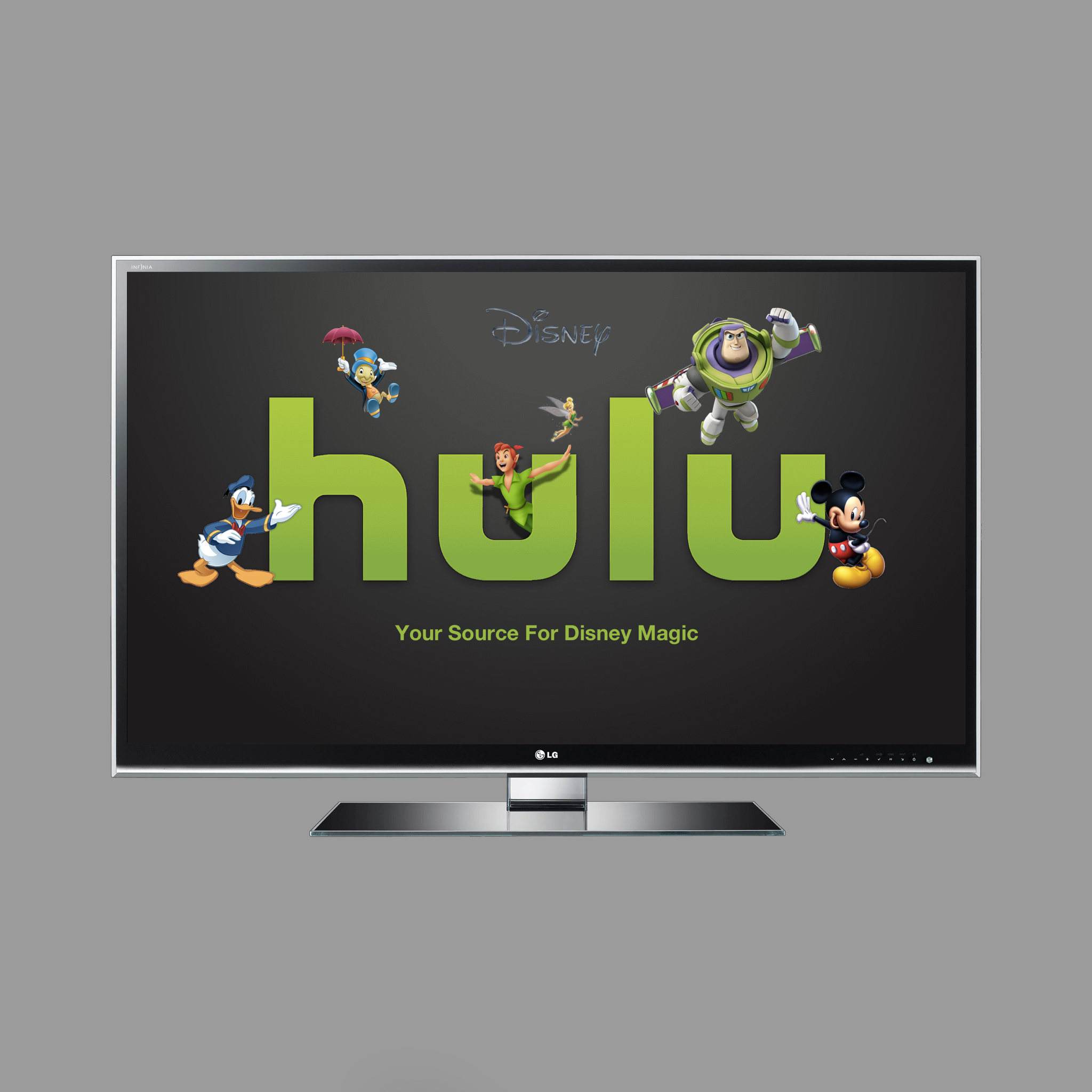 Disney On Hulu- Concept Piece   Now that Disney owns 60%of Hulu they have a particular invested interest in its success and for advertisement.I turned an ordinary logo into a tool Hulu could could use to promote themselves as a source for Disney entertainment.