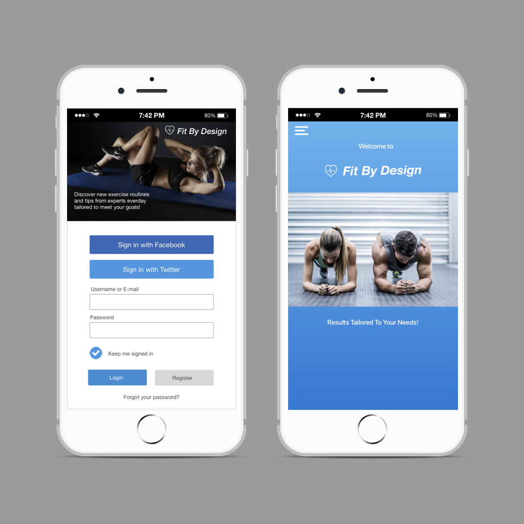 Onboarding -Concept Piece   A fictional fitness app designed as an example of a signup recruiting procedure. This app is an idea for people who desire to tailor their fitness goals by receiving daily exercise routines and tips by experts.
