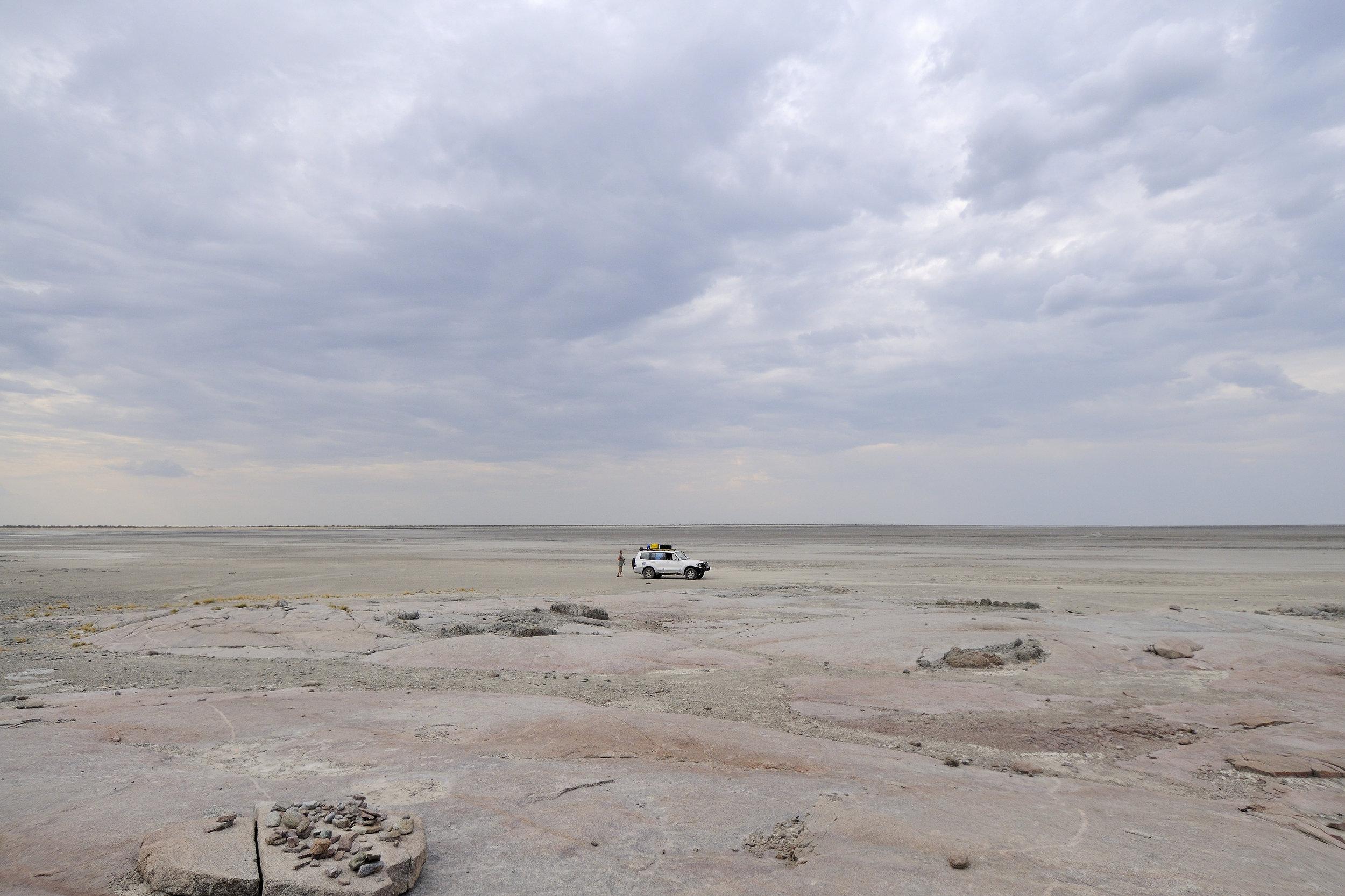 Makgadikgadi Salt Pans Photographed from Kubu Island in Botswana