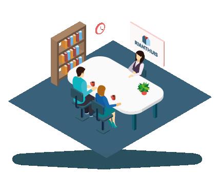 1. VERKOOPGESPREK - Tijdens het verkoopgesprek maken wij kennis met elkaar. Wij leggen uit wat RiantHuis is, welke mogelijkheden er zijn en hoe het RiantHuis traject verloopt. Wij bespreken de wensen van de klant en vragen naar de gezinssamenstelling. Wij bekijken de mogelijkheden en afmetingen van de kavel en onderzoeken de eisen van het bestemmingsplan.
