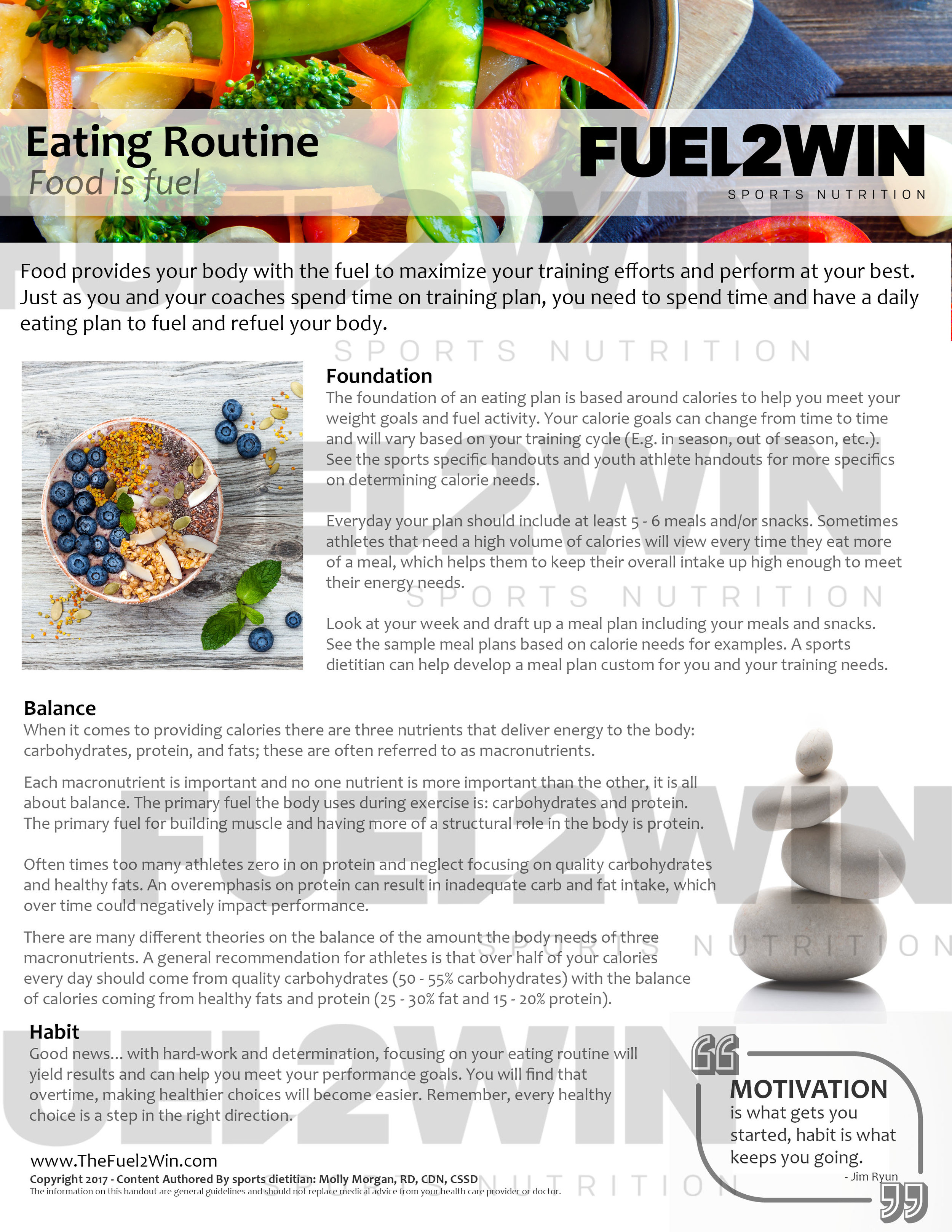 Click on the image above to download the Eating Routine handout.   Note - the downloaded version will not have the Fuel2Win logo watermarked and will be easy to read!