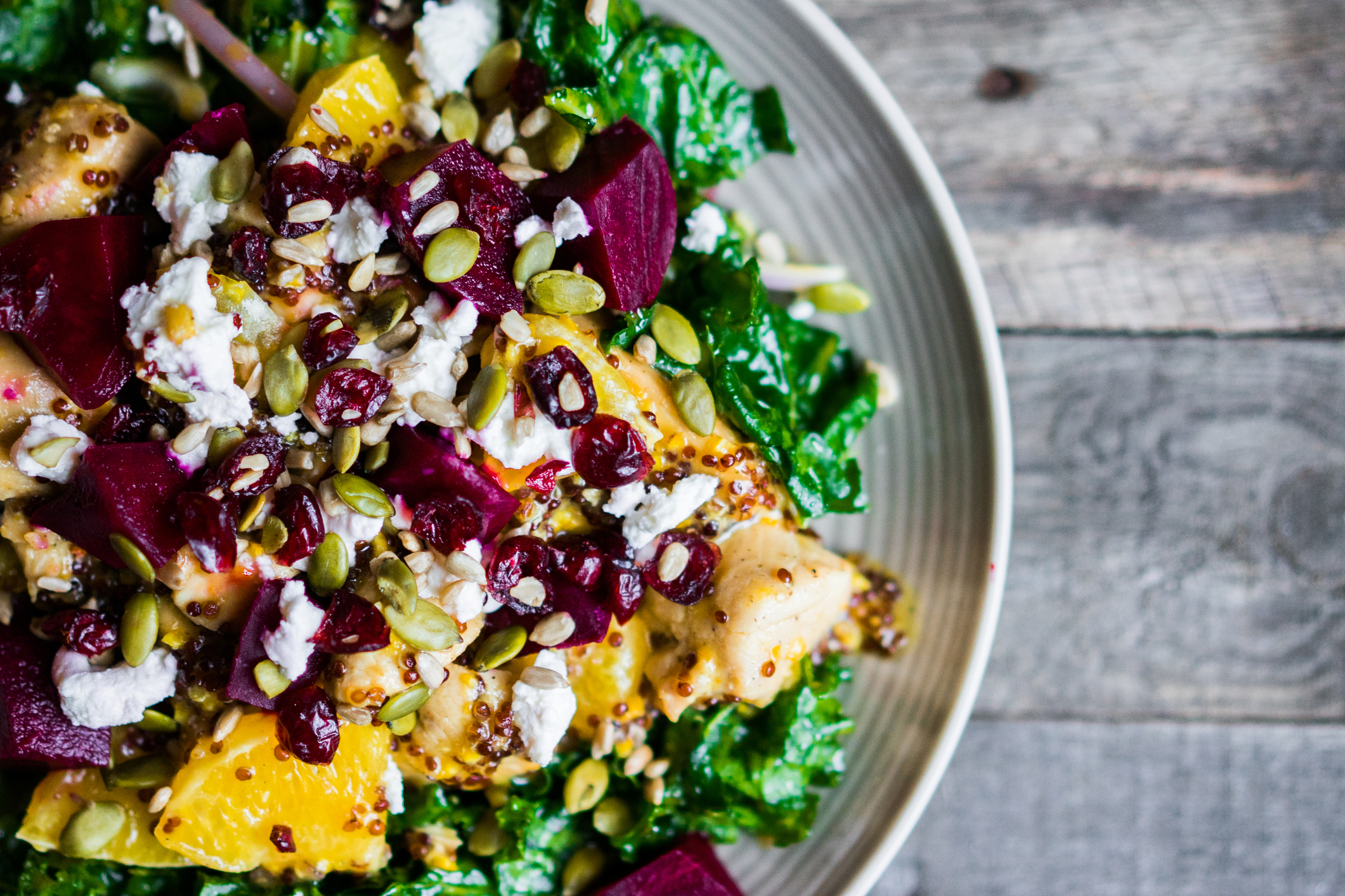 Beet salad with oranges, pumpkin seeds, and feta