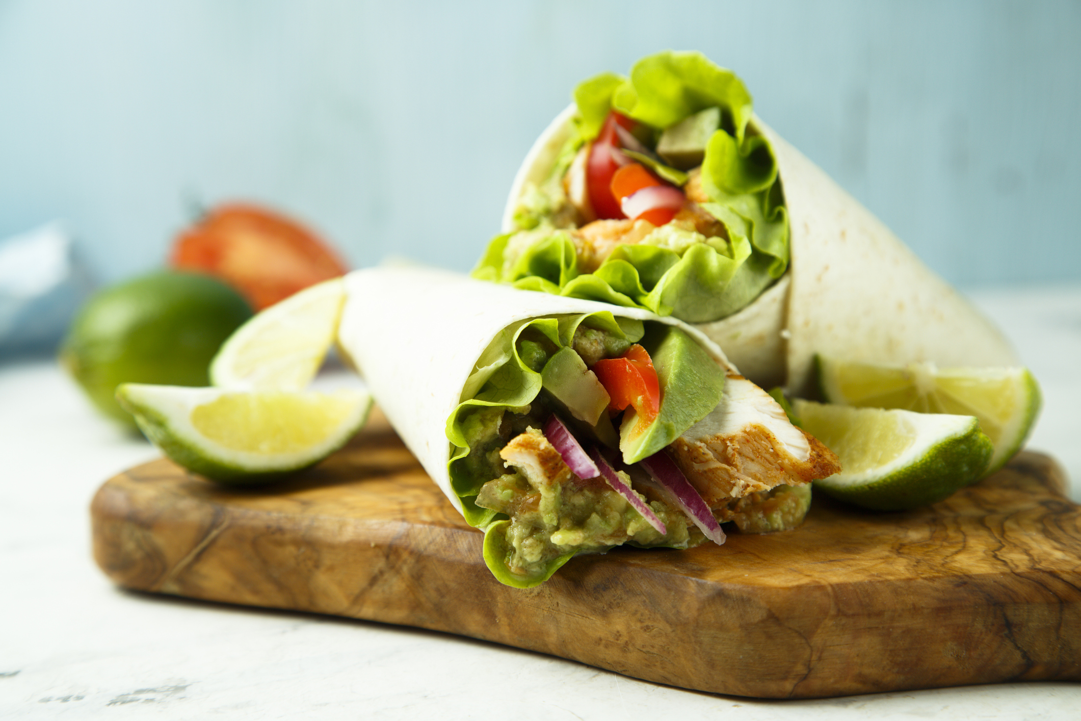 Wrap up veggies + protein for a quick on the go meal. (Image Source: iStock)